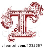 Clipart Of A Retro Red Capital Letter T With Flourishes Royalty Free Vector Illustration