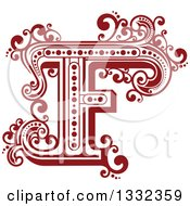Clipart Of A Retro Red Capital Letter F With Flourishes Royalty Free Vector Illustration