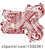 Clipart Of A Retro Red Capital Letter K With Flourishes Royalty Free Vector Illustration