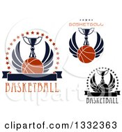 Clipart Of Winged Basketballs With Trophies And Text Royalty Free Vector Illustration