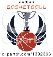 Clipart Of A Winged Basketball Under A Trophy With Stars And Text Royalty Free Vector Illustration