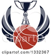 Clipart Of A Winged Basketball Under A Trophy Royalty Free Vector Illustration