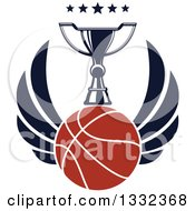Clipart Of A Winged Basketball Under A Trophy And Stars Royalty Free Vector Illustration