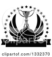 Clipart Of A Black And White Winged Basketball Under A Trophy Inside A Circle Of Stars Over A Blank Banner Royalty Free Vector Illustration