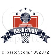 Clipart Of A Basketball And Stars Over A Hoop And Navy Blue Text Banner Royalty Free Vector Illustration