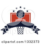 Clipart Of A Basketball And Stars Over A Hoop And Blank Navy Blue Banner Royalty Free Vector Illustration