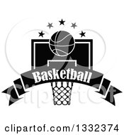 Clipart Of A Black And White Basketball And Stars Over A Hoop And Text Banner Royalty Free Vector Illustration