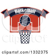 Clipart Of A Text Banner Over A Basketball And A Hoop Royalty Free Vector Illustration