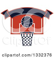 Clipart Of A Blank Banner Over A Basketball And A Hoop Royalty Free Vector Illustration