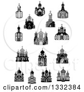 Clipart Of Black And White Church Buildings Royalty Free Vector Illustration