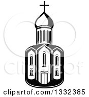 Clipart Of A Black And White Church Building Royalty Free Vector Illustration