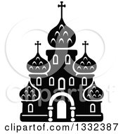 Clipart Of A Black And White Church Building 11 Royalty Free Vector Illustration