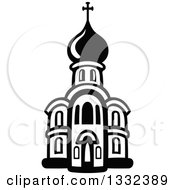 Clipart Of A Black And White Church Building 13 Royalty Free Vector Illustration