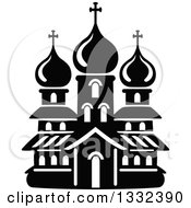 Clipart Of A Black And White Church Building 14 Royalty Free Vector Illustration