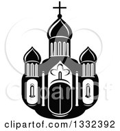 Clipart Of A Black And White Church Building 2 Royalty Free Vector Illustration