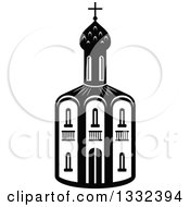 Clipart Of A Black And White Church Building 4 Royalty Free Vector Illustration