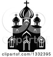 Clipart Of A Black And White Church Building 5 Royalty Free Vector Illustration