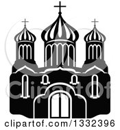 Clipart Of A Black And White Church Building 6 Royalty Free Vector Illustration