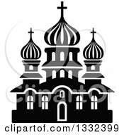 Clipart Of A Black And White Church Building 9 Royalty Free Vector Illustration