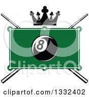Clipart Of A Billiards Pool Eight Ball Over A Table Crown And Crossed Cue Sticks Royalty Free Vector Illustration