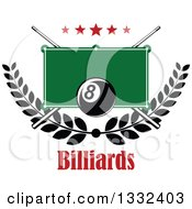 Clipart Of A Billiards Pool Eight Ball Over A Table Stars Laurel Branch And Crossed Cue Sticks With Text Royalty Free Vector Illustration