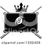 Clipart Of A Black And White Billiards Pool Eight Ball Over A Table Crown And Crossed Cue Sticks Royalty Free Vector Illustration