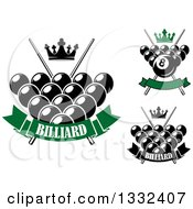 Clipart Of Crowns Billiards Pool Balls And Crossed Cue Sticks With Text Royalty Free Vector Illustration