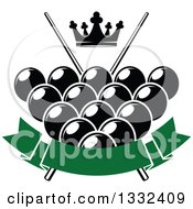 Clipart Of A Crown Over Billiards Pool Balls Crossed Cue Sticks And A Bank Green Banner Royalty Free Vector Illustration by Vector Tradition SM