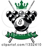 Clipart Of A Billiards Pool Balls With A Green Crown Blank Banner And Crossed Cue Sticks Royalty Free Vector Illustration