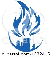 Clipart Of A Blue Natural Gas And Flame Design 14 Royalty Free Vector Illustration
