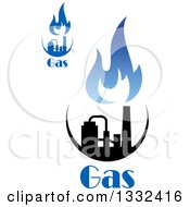 Clipart Of Black And Blue Natural Gas And Flame Designs With Text 15 Royalty Free Vector Illustration