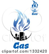 Clipart Of Black And Blue Natural Gas And Flame Designs With Text 14 Royalty Free Vector Illustration