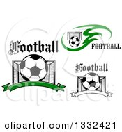 Clipart Of Soccer Balls Goal Cages And Text Royalty Free Vector Illustration
