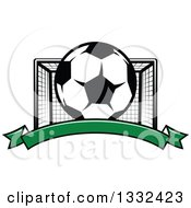 Clipart Of A Soccer Ball And Goal Net Over A Blank Green Banner Royalty Free Vector Illustration by Vector Tradition SM