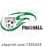 Clipart Of A Soccer Ball And Goal Net In Green Flames Beside Text Royalty Free Vector Illustration