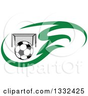 Clipart Of A Soccer Ball And Goal Net In Green Flames Royalty Free Vector Illustration