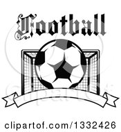 Clipart Of Text Over A Black And White Soccer Ball And Goal Net Over A Blank Banner Royalty Free Vector Illustration