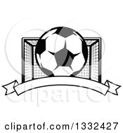 Clipart Of A Black And White Soccer Ball And Goal Net Over A Blank Banner Royalty Free Vector Illustration