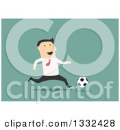 Clipart Of A Flat Design White Business Man Playing Soccer On Green Royalty Free Vector Illustration by Vector Tradition SM