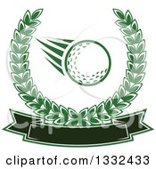 Clipart Of A Flying Golf Ball In A Green Laurel Wreath Over A Blank Banner Royalty Free Vector Illustration by Vector Tradition SM