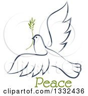 Clipart Of A Sketched Flying Navy Blue Peace Dove With A Branch And Text 2 Royalty Free Vector Illustration
