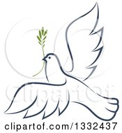 Clipart Of A Sketched Flying Navy Blue Peace Dove With A Branch 2 Royalty Free Vector Illustration