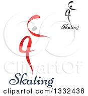 Clipart Of Figure Skaters Or Dancers With Text Royalty Free Vector Illustration