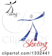 Clipart Of Figure Skaters Or Dancers With Text 2 Royalty Free Vector Illustration