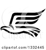 Clipart Of A Black Abstract Flying Eagle 2 Royalty Free Vector Illustration