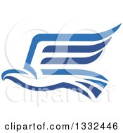 Clipart Of A Blue Abstract Flying Eagle 2 Royalty Free Vector Illustration