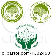 Clipart Of Labels Of Hands Supporting Leaves With Natural Product Text Royalty Free Vector Illustration