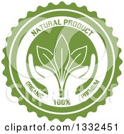 Round Label With A Pair Of Hands Supporting Leaves With Natural Product Text