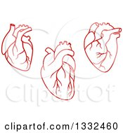 Clipart Of Red Human Hearts Royalty Free Vector Illustration