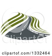 Clipart Of A Curvy Road Or Highway With Green Swooshes Royalty Free Vector Illustration